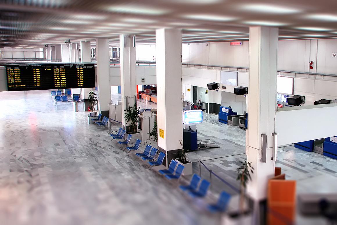 Зал вылета аэропорта Ираклион Никос Казандзакис, Крит, Греция